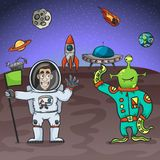 Astronaut And Alien Royalty Free Stock Photo