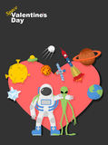 Astronaut and alien friends. Valentines day in space Stock Image