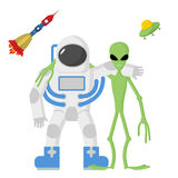 Astronaut and alien friends on a white background. Vector illust Stock Photo
