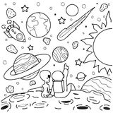 Astronaut and alien girlfriend sitting on mars watching shooting star together, design for design element and coloring book page.V. Ector illustration Royalty Free Stock Photos