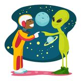 Astronaut and alien meet for the first time. African-american space exploration astronaut and green alien meet for the first time. Human and alien touching each Stock Image