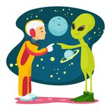 Astronaut and alien meet for the first time. Caucasian white space exploration astronaut and green alien meet for the first time. Human and alien touching each Stock Images