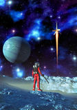 Astronaut and alien planet royalty free illustration
