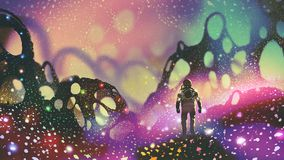 Astronaut on alien planet. Astronaut walking on the ground with glowing particles in alien planet, digital art style, illustration painting stock illustration