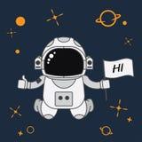 Astronaut all stjärna i galaxstiltecknade filmen, vektorillustration royaltyfri illustrationer