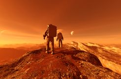 Astronaut. S enter into derelict planet or doing some exploration on a new planet he discover,3d rendering of sci-fi concept royalty free illustration