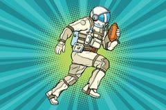 Astronaut athlete American football. Comic book illustration pop art retro color vector vector illustration
