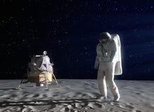 Astronaut auf dem Mond Stockbilder