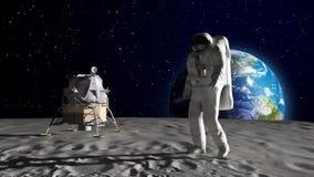 Astronaut auf dem Mond Stockfotos