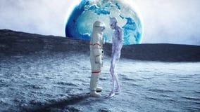 Astronaut auf dem Mond mit Ausländer Wiedergabe 3d Stockbilder