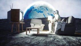 Astronaut auf dem Mond Wiedergabe 3d Lizenzfreies Stockfoto