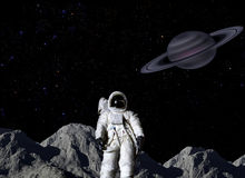 Astronaut auf Mondoberfläche Lizenzfreie Stockfotografie