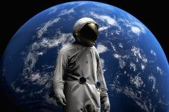 Astronaut auf Raumfahrtmissionsfliegen um unseren blauen Planeten Erde auf Hintergrund kosmos 3d übertragen Stockbilder