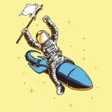 Astronaut bär flaggateckendesign Vektor Illustrationer