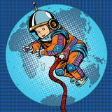 Astronaut baby Earth space. Earth day, ecology and life on the planet pop art retro vector vector illustration