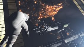 Astronaut back view realistic ISS orbiting Earth