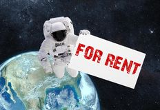 Astronaut and banner with text rent. Elements of this image furn stock images