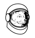 Astronaut bear in a spacesuit graphic black and wh. Graphic black and white illustration of a bear astronaut in a spacesuit vector illustration