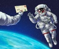 Astronaut binnen in open plek Stock Afbeelding