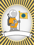 Astronaut blank product label bright oval vector Stock Photo