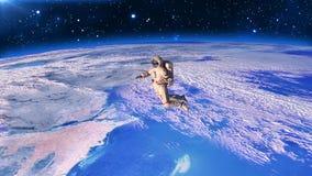 Astronaut boven aarde, kosmonaut die in ruimte de drijven, 3D geeft terug Royalty-vrije Illustratie