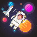 Astronaut boy flying in space vector illustration