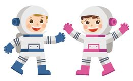 Astronaut Boy and Girl in space suit. Astronaut Boy and Girl in space suit which provide mobility and functionality to investigate universe. Explorer cosmic Royalty Free Stock Images