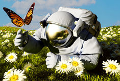 Astronaut and a butterfly Royalty Free Stock Photo