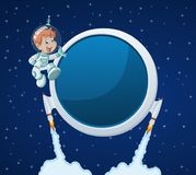 Astronaut cartoon boy in the space. Futuristic rocket screen board with astronaut cartoon boy in the space Stock Images