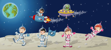 Astronaut cartoon characters on the moon Royalty Free Stock Photography