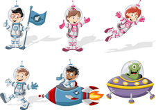Astronaut cartoon characters Royalty Free Stock Photography