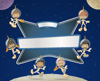 Astronaut cartoon children in the space. Stock Images