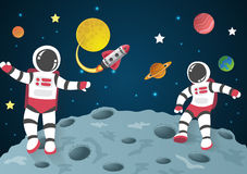 Astronaut cartoon on the moon with a spaceship in space Royalty Free Stock Photography