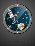 Astronaut cartoon with a spaceship and orbit in windows,paper ar Stock Photography