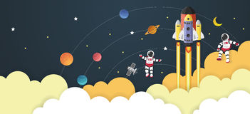 Astronaut cartoon with a spaceship in space Stock Photos