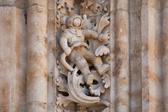 Astronaut carved in stone in the Salamanca Cathedral Facade Royalty Free Stock Photography