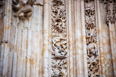 Astronaut carved in stone in the Salamanca. SALAMANCA, SPAIN - SEPTEMBER 24, 2013: The famous astronaut carved in stone in the Salamanca Cathedral facade. The Stock Photos