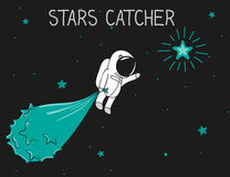 Astronaut catch the stars Royalty Free Stock Image