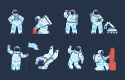 Free Astronaut Character. Cartoon Spaceman Design, Cosmonaut In Motion, Taking Selfie Flying And Walking. Vector Explorer In Royalty Free Stock Images - 153823969