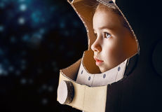 Astronaut. Child is dressed in an astronaut costume stock photography