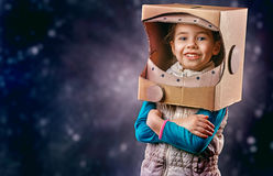 Astronaut. Child is dressed in an astronaut costume stock images