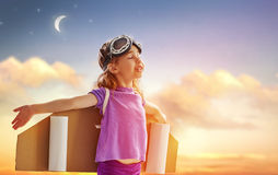 Astronaut. Child is dressed in an astronaut costume royalty free stock image