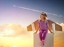 Astronaut. Child is dressed in an astronaut costume stock photos