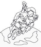 Astronaut coloring page. Hand drawn astronaut cosmonaut coloring page for kids Stock Images