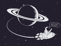 Astronaut come back after mission to Saturn. Hand drawn work.Childish vector illustration Stock Photo