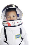 Astronaut Commander Closeup. Head and shoulders image of an elementary astronaut in his uniform and helmet, with his visor opened.  On a white background Stock Photos