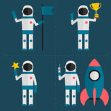 Astronaut concept with flag, cup, star, rocket Royalty Free Stock Images