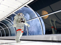 Astronaut in the corridor Stock Image
