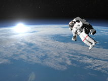 Astronaut or cosmonaut flying upon earth - 3D Stock Photography