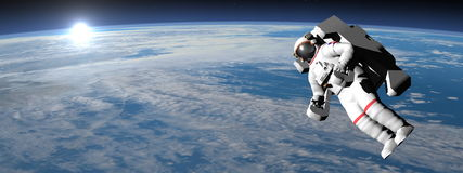 Astronaut or cosmonaut flying upon earth - 3D. Astronaut or cosmonaut flying upon earth when sun rises - 3d render - Elements of this image furnished by NASA Stock Image